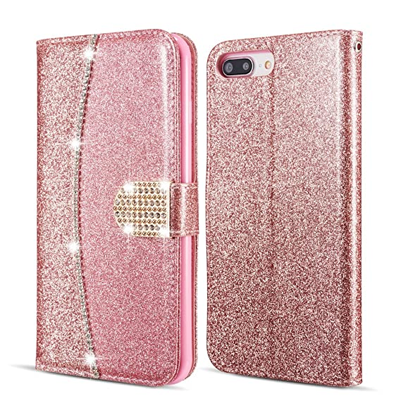 separation shoes 465f4 f9d7a ZCDAYE Wallet Case for iPhone 6S Plus,Bling Luxury PU Leather [Magnetic  Closure][Card Slots][Kickstand][Hand Strap] Diamond Buckle Soft TPU  Protective ...