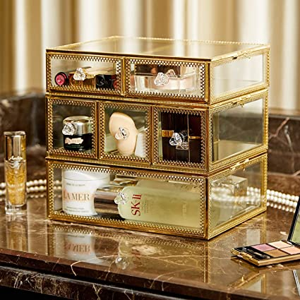 Ordinaire PuTwo Vintage Makeup Organizer 3 Layers 6 Drawers Detachable Cosmetic  Organizer Glass Makeup Storage For Countertop