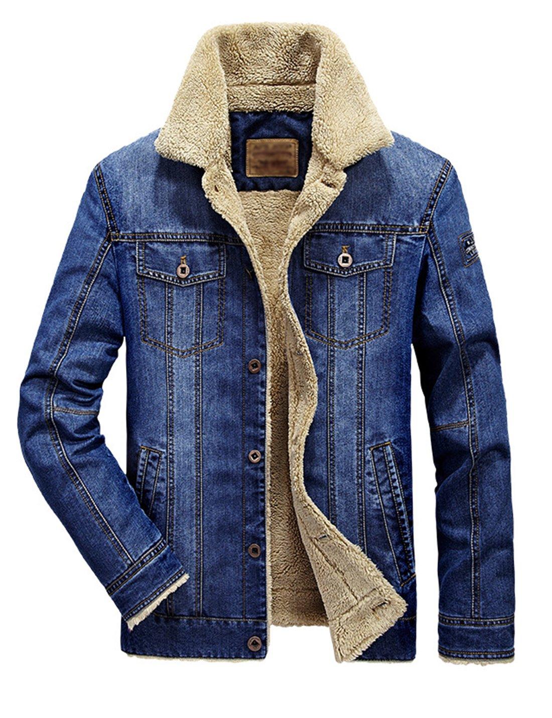 Lentta Men's Winter Warm Thick Short Sherpa Lined Denim Jean Trucker Shearling Jacket (Large, Light Blue)
