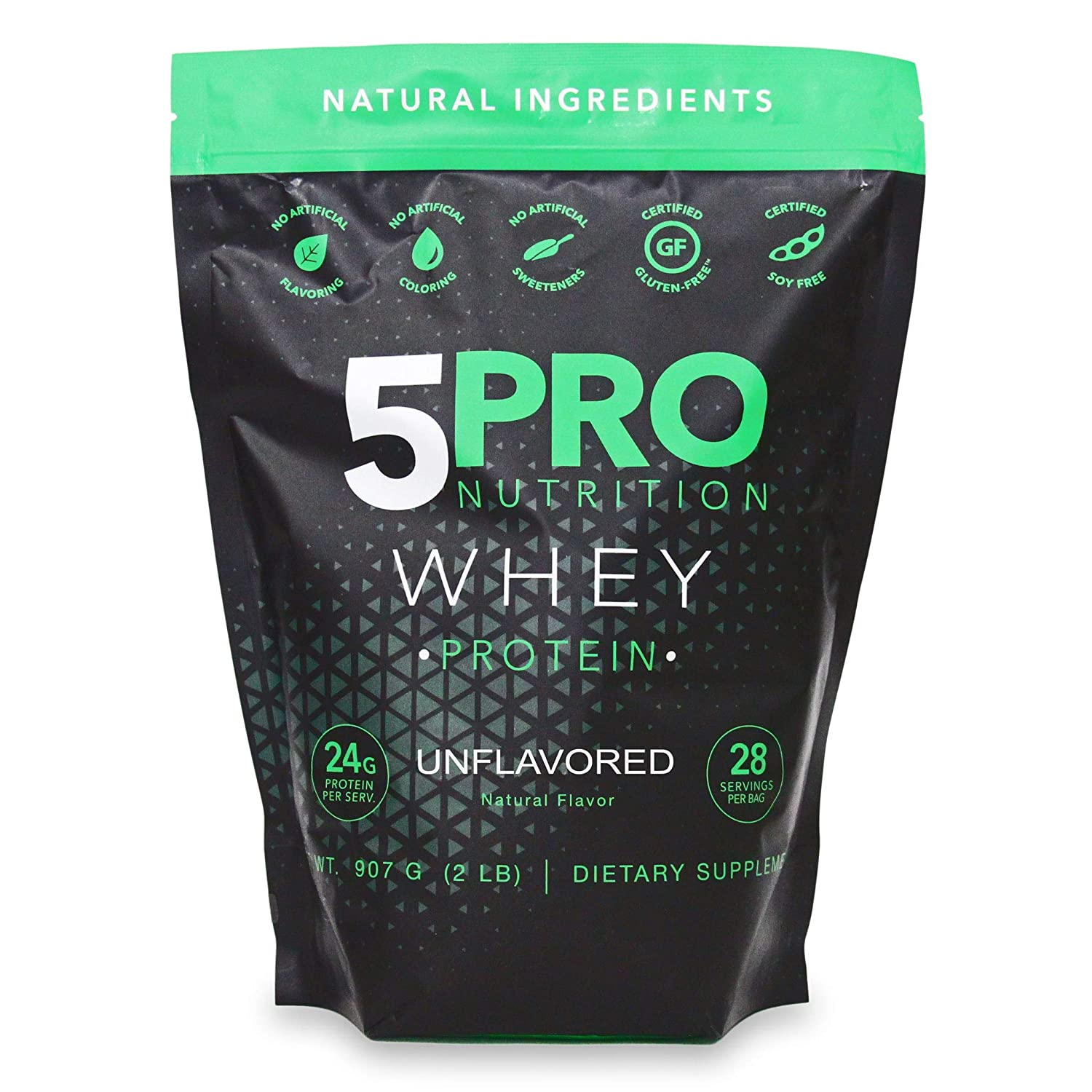 5Pro Nutrition 2lb Natural Clean Whey Protein No Artificial Ingredients or Added Sugars rBGH Free GMO-Free Gluten Free Preservative Free 2LB – Unflavored
