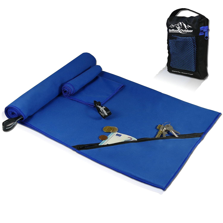 Juego de toallas de microfibra + funda de transporte | Set de 2 azules: grande para baño, pequeño para cuerpo y cara | Ultra–ligeras, absorbentes, de secado rápido | Deporte, viaje, playa, gimnasio BeMaxx Fitness BM-MT1