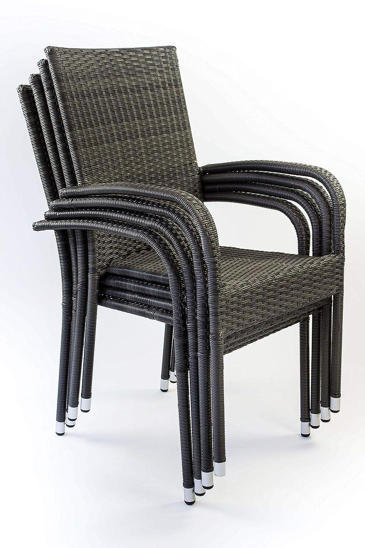 Arezzo Big AVANTI TRENDSTORE Set da Giardino Composto da Tavolo in Metallo con Superficie in Vetro e Quattro sedie impilabili in Rattan Sintetico