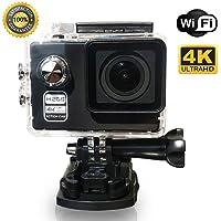 """Caméra Sport Action Cam 4K Wi-Fi 16MP Ultra HD étanche 30m Grand-angle 170 ° LCD 2.0"""" batterie rechargeable inclus Kit avec 20 accessoires pour le cyclisme natation course de moto parachutisme escalade libre surf randonnée"""