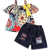 Niña Verano Conjuntos Camisetas Manga Corta Tops + Pantalones Cortos Vaqueros Trajes Traje Conjunto de Ropa de Bebé…