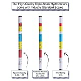 Triple Scale Hydrometer Test Kit by The Brew Supply - Specific Gravity ABV Tester with Cylinder for Beer Wine Mead Cider - Accurate and Easy Alcohol Measuring for Professionals or Homebrewers