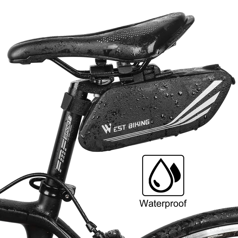ICOCOPRO Sacoche de Selle de v/élo imperm/éable /à leau avec Coque 3D pour v/élo de Montagne Noir