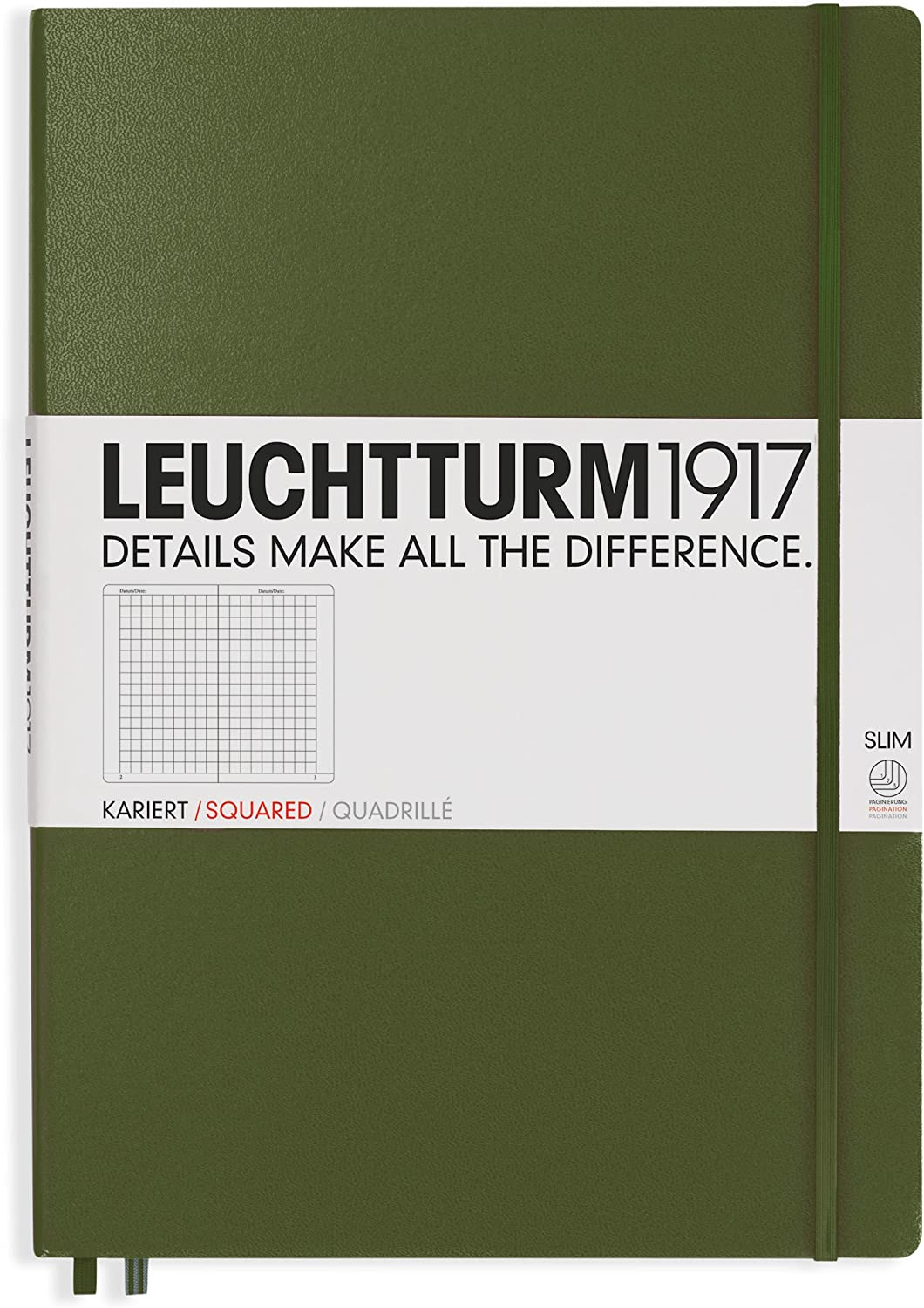 LEUCHTTURM1917 - Master Slim A4+ - Squared Hardcover Notebook (Army) - 123 Numbered Pages