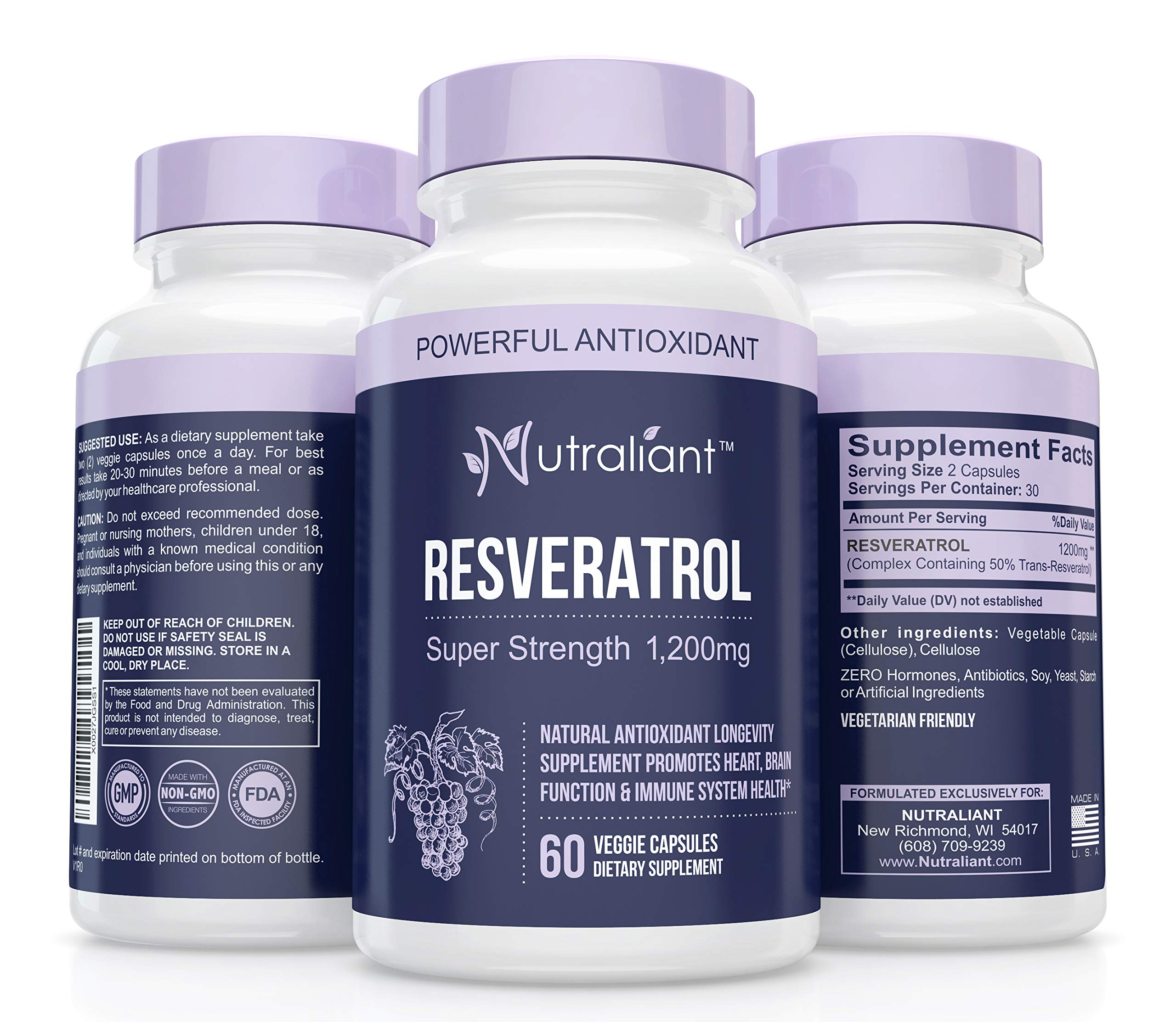 Resveratrol 1200mg Maximum Strength Supplement - Trans Resveratrol Natural Antioxidant to Support Immune, Heart, Weight Loss & Brain Health - Trans-Resveratrol Pills for Anti-Aging 60 Veggie Capsules by Nutraliant