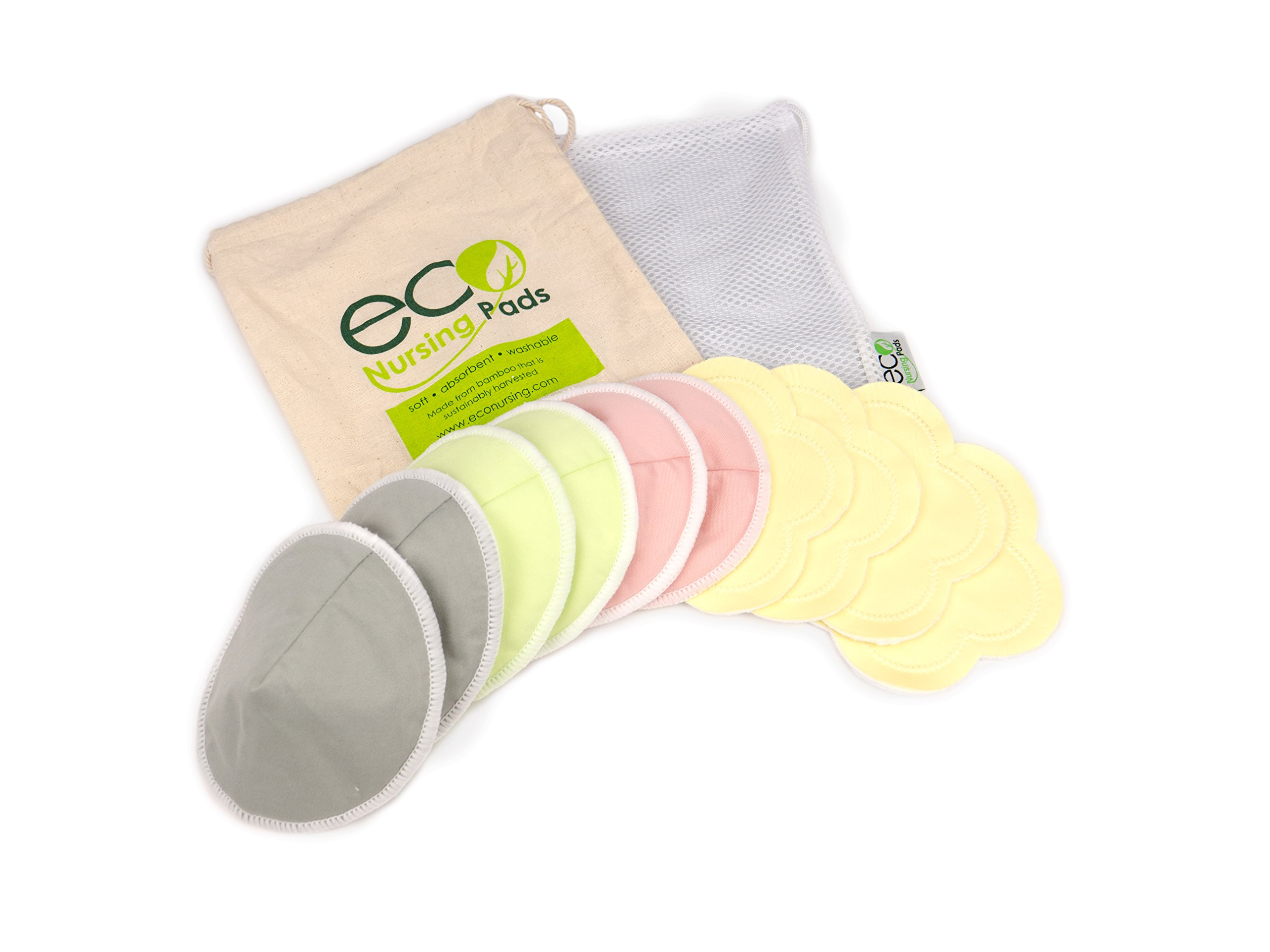 Contoured Washable Reusable Bamboo Nursing Pads | Organic Bamboo Breastfeeding Pads, Ultra-Soft Velvet Flower Pads | 10 Pack with 2 BONUS Pouches & FREE E-Book | Perfect Baby Shower Gift