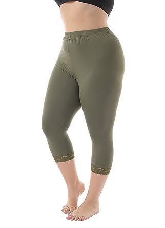 800325d37fe4c Zerdocean Women s Plus Size Modal Capri Leggings Hem Lace Trim Army Green 1X