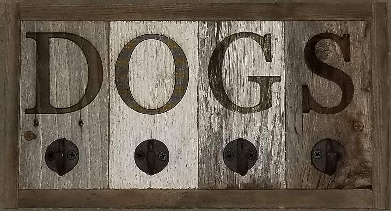 Dog Leash And Collar Holder Reclaimed Barn Wood Wall Mount Hanger 4 Hook Rack Unique Dog Themed Gift Home Decor Farmhouse Entryway Decor