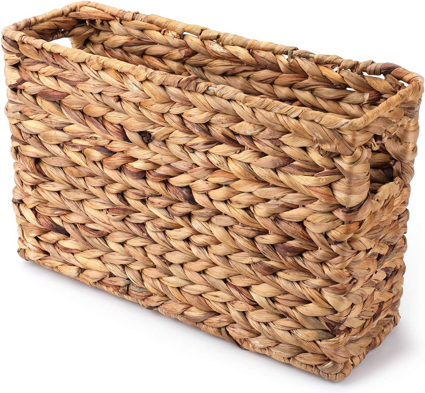 Yesland Magazine Water Hyacinth Basket - 15-1/4 x 4-7/8 x 9-7/8 Inch - Natural Woven Magazine Holder/Basket Bin for Home & Office