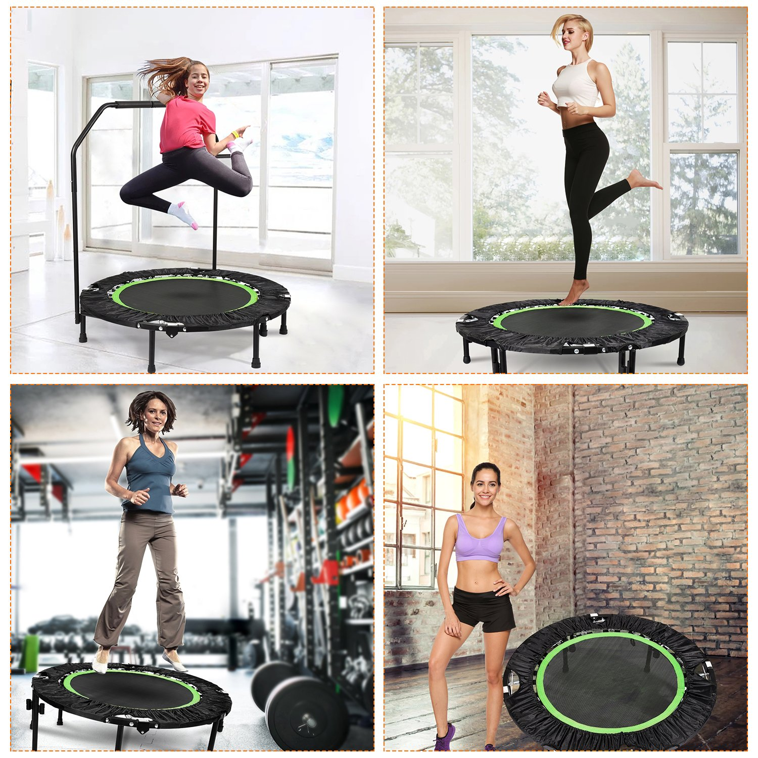 ANCHEER Foldable 40'' Mini Trampoline Rebounder, Max Load 300lbs Rebounder Trampoline Exercise Fitness Trampoline for Indoor/Garden/Workout Cardio by ANCHEER (Image #2)