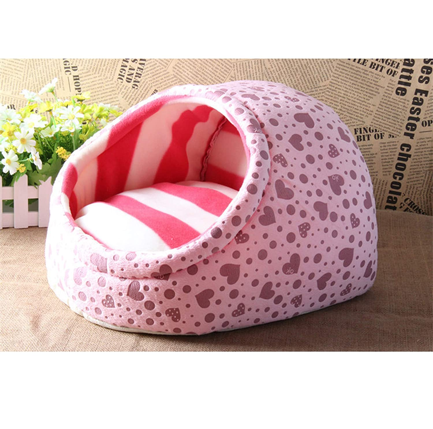 Pink L Pink L Cute Slipper Design Pet Cat Dog Princess Bed Nest Washable Small Dogs Warm House Kennel Dog Bed,Pink,L