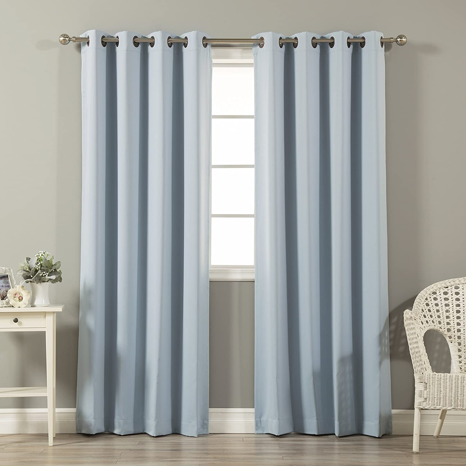 Best Home Fashion Basic Thermal Insulated Blackout Curtains - Antique Bronze Grommet Top - Sky Blue