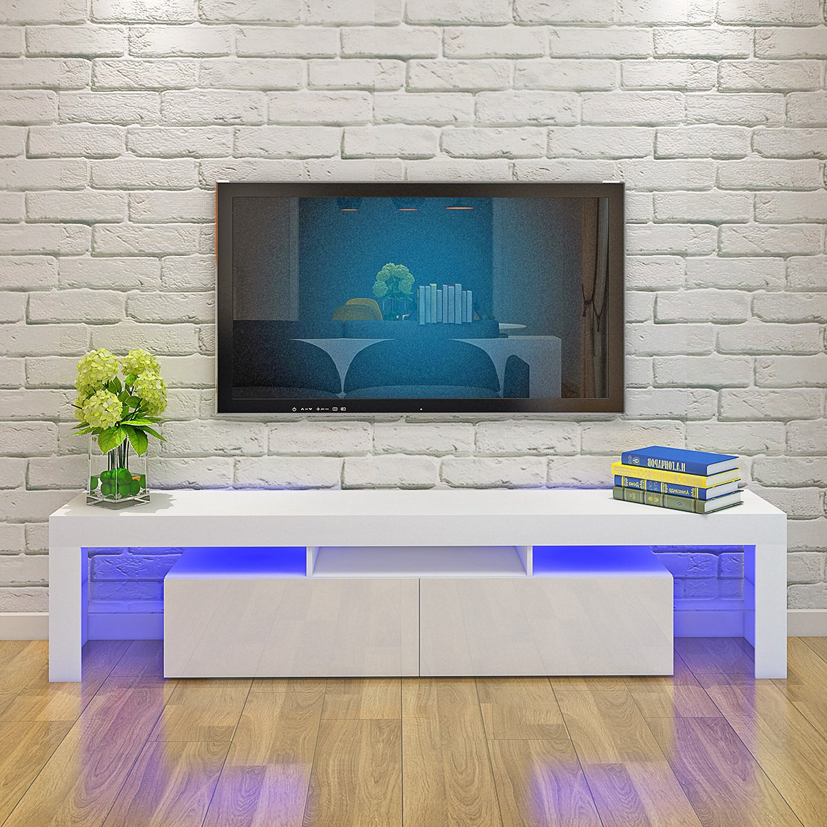 Keinode Mueble de TV LED de 200 cm RGB LED TV Stand Mueble ...