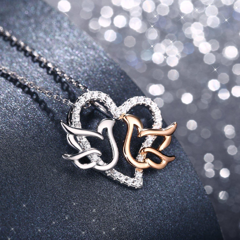 Cha/îne 45+5CM J.Ros/ée Collier Coeur Femme Bijoux en Argent 925 Plaqu/é Or Rose 5A Zirconium Cubique Blanc Cadeau Parfait Doux Amour