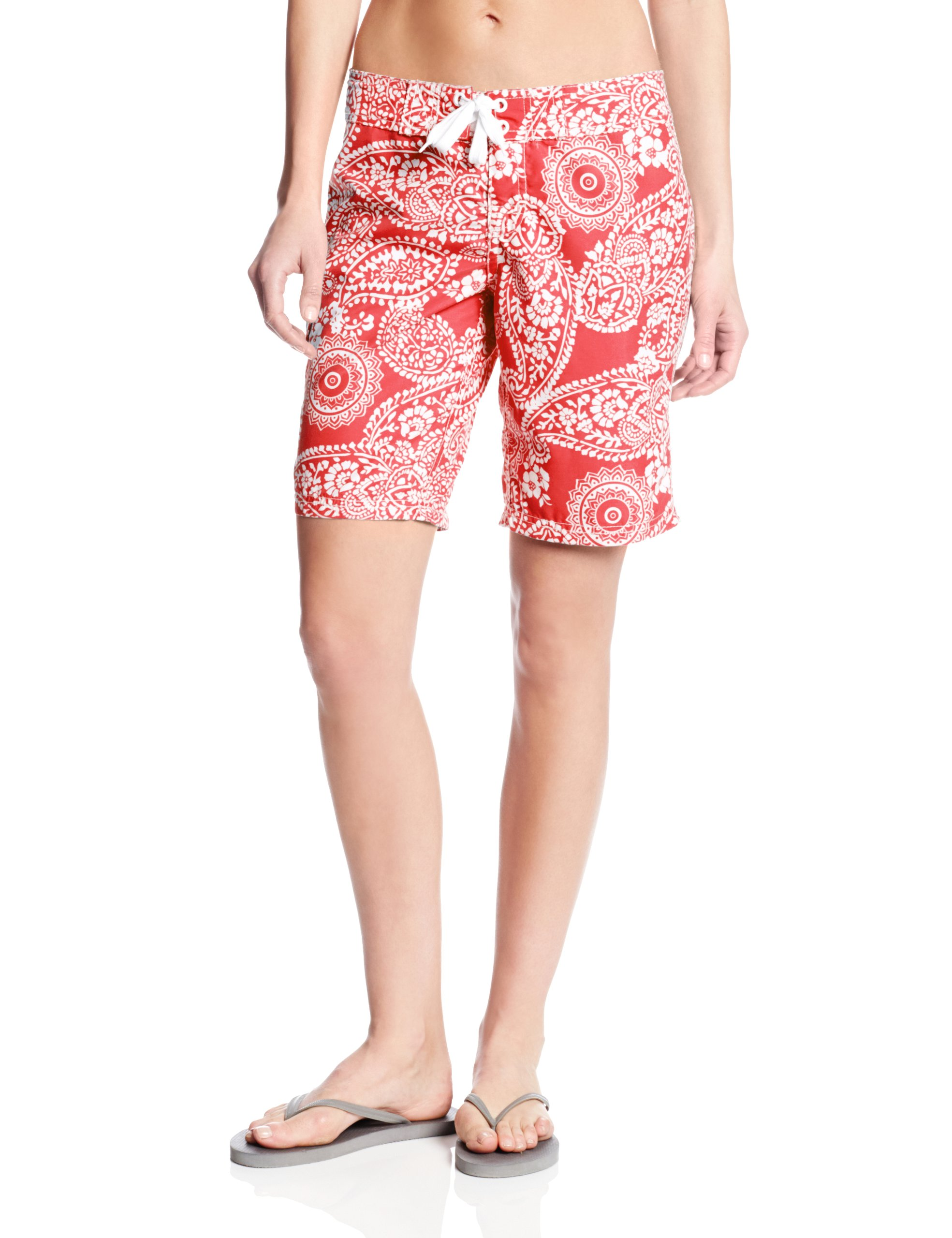 Kanu Surf Women's UPF 50+ Quick Dry Active Prints I Swim Boardshort, Coral, 12