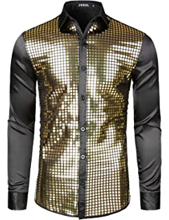 1aab455f345cc JOGAL Mens Dress Shirt Silver Sequins Long Sleeve Button Down 70s Disco  Shirt Party Costume