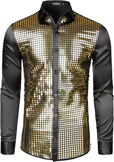 Amazon.com: JOGAL Mens Dress Shirt Silver Sequins Long Sleeve Button Down  70s Disco Shirt Party Costume: Clothing