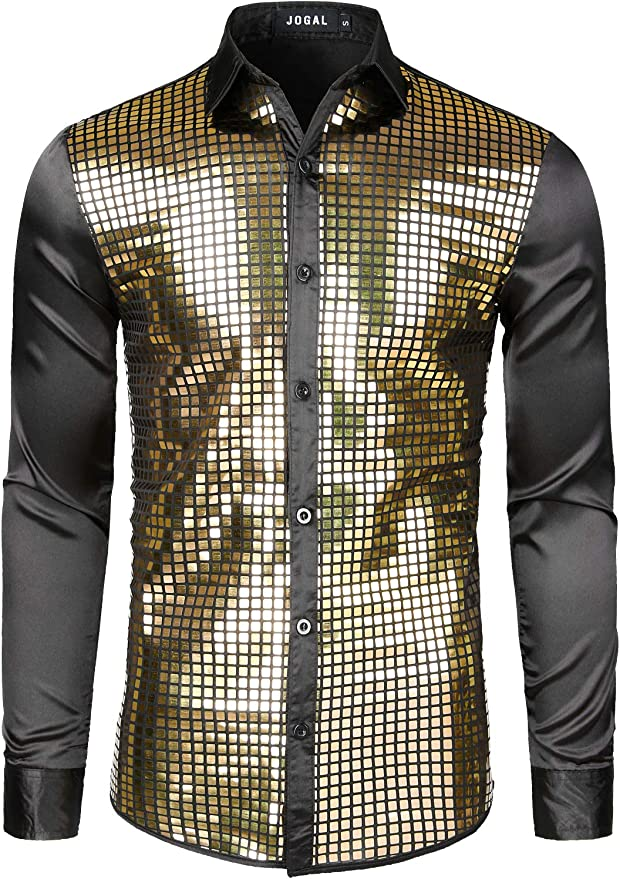 inlzdz Mens Shiny Sequins Dress Shirt Long Sleeve Button Down 70s Disco Party Fever Tops Costume