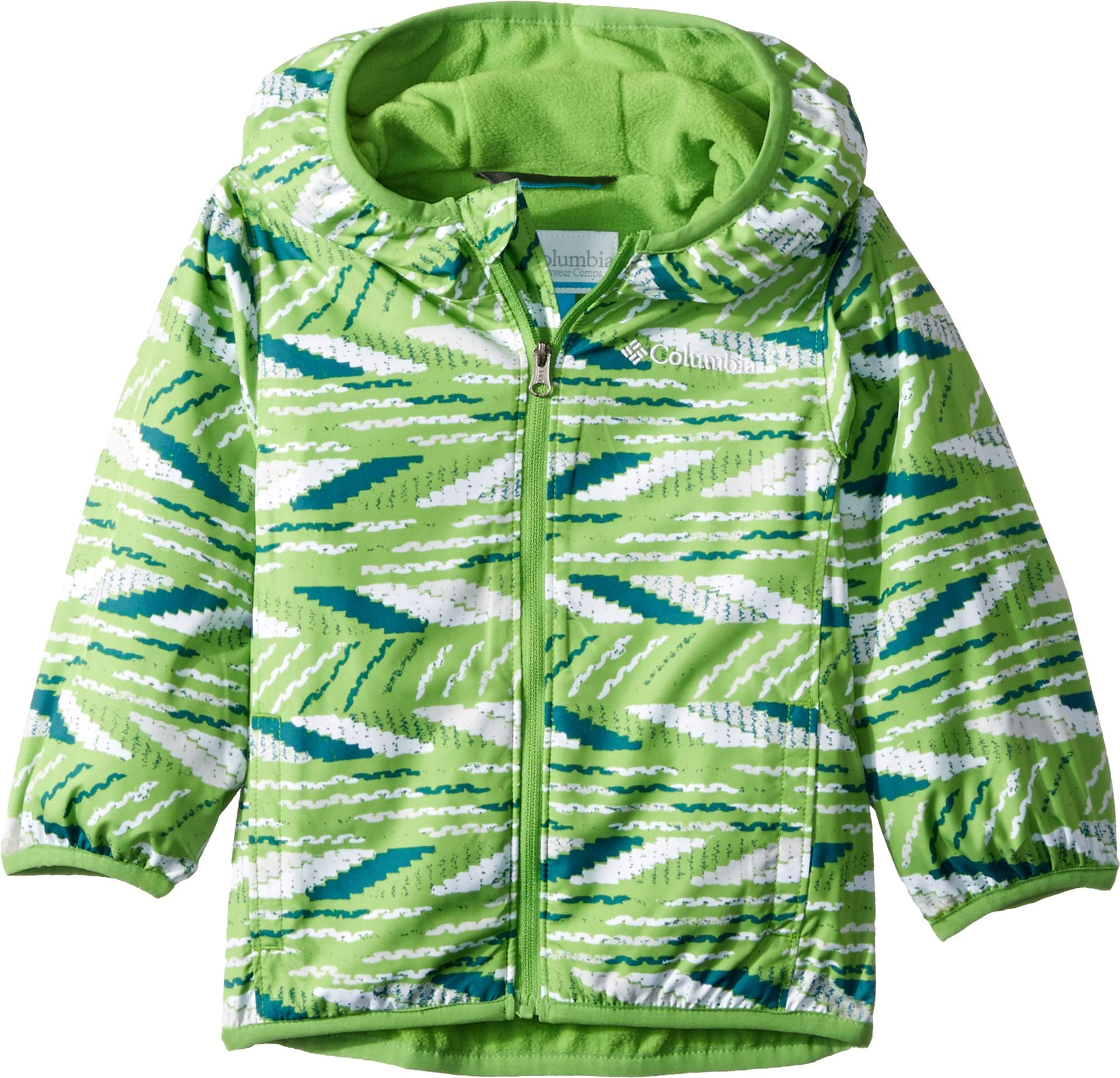 Columbia Kids Baby Boy's Mini Pixel Grabber¿ II Wind Jacket (Infant/Toddler) Cyber Green Beach Stripe 2T Toddler