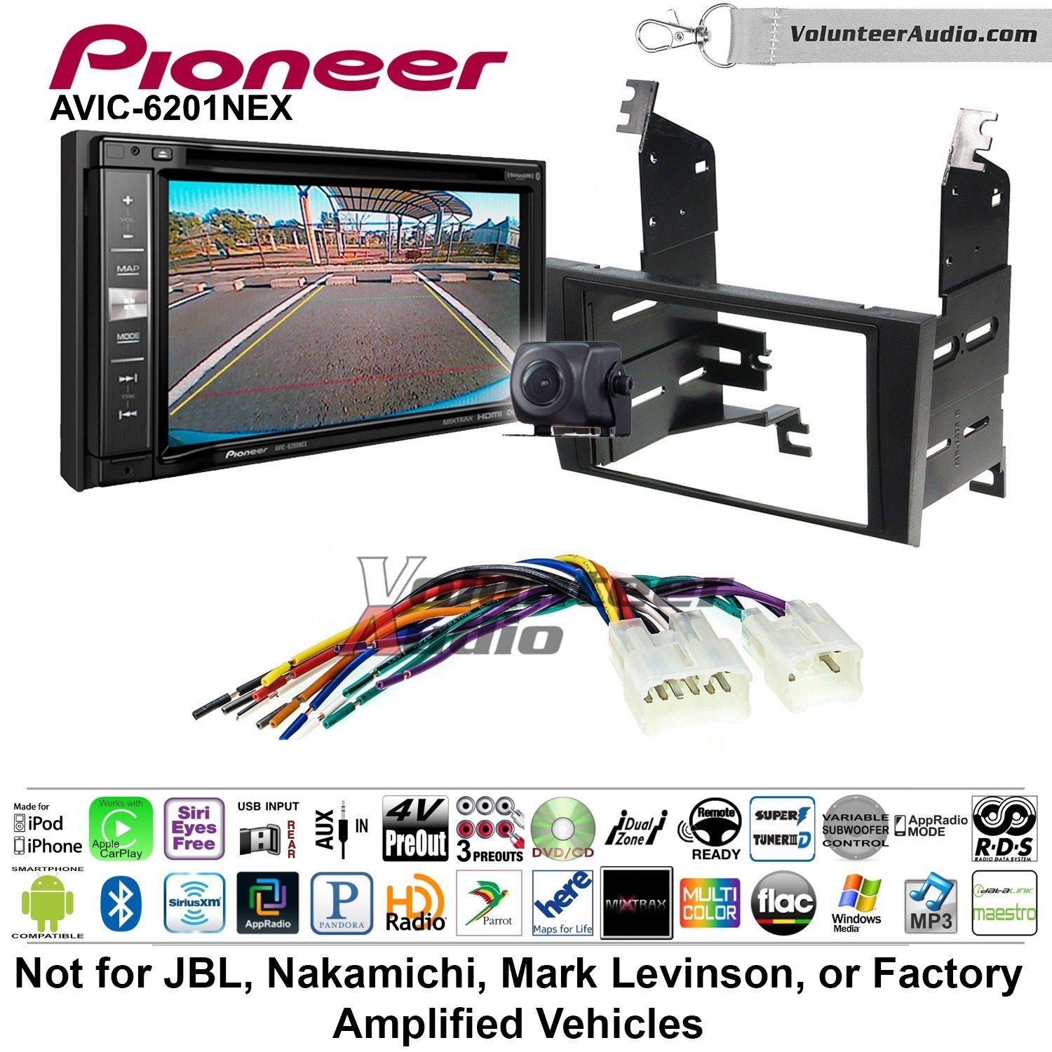 Pioneeer AVIC-6201NEX Double Din Radio Install Kit with GPS Navigation Apple CarPlay Android Auto Fits 1998-2005 Lexus GS Series by Pioneeer Volunteer Audio (Image #1)