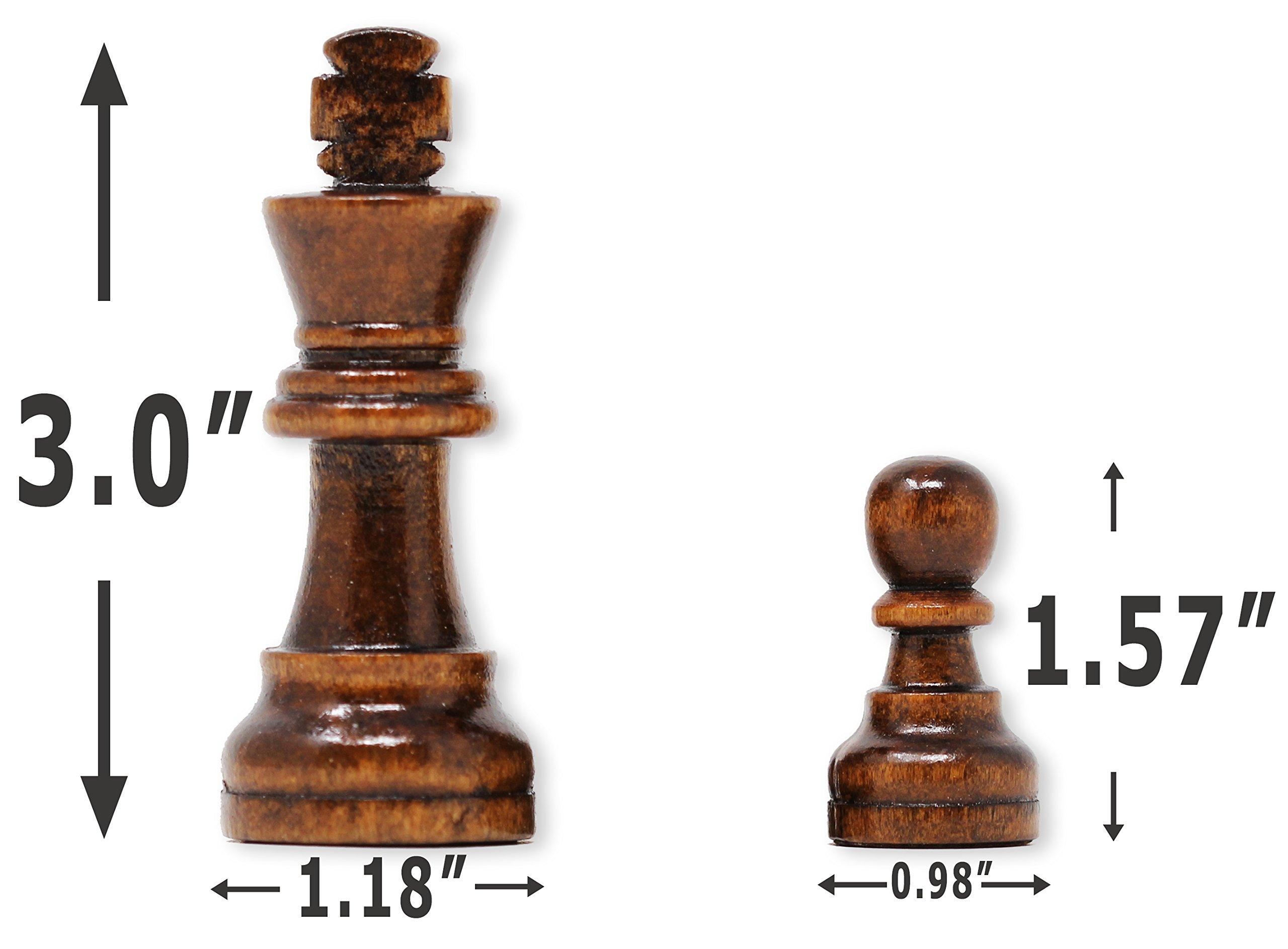 Da Vinci Staunton Wood Chess Pieces (32 Chessmen) & Storage Bag … (3 Inch King) by DaVinci (Image #3)