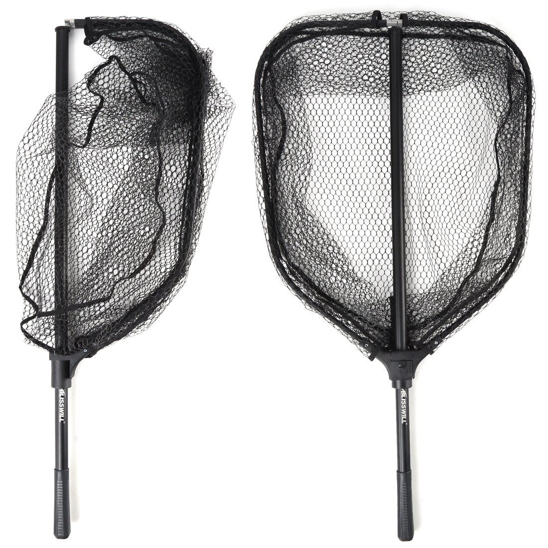 BLISSWILL Large Fishing Net Collapsible Fish Landing Net with Extending Telescoping Pole Handle Durable Nylon Material Mesh Safe Fishing Catching and Releasing Knotless Fishing Net