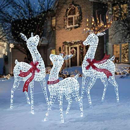 pre lit led lighted twinkling crystal beaded 3pc deer family outdoor yard decor - Outdoor Deer Christmas Decorations