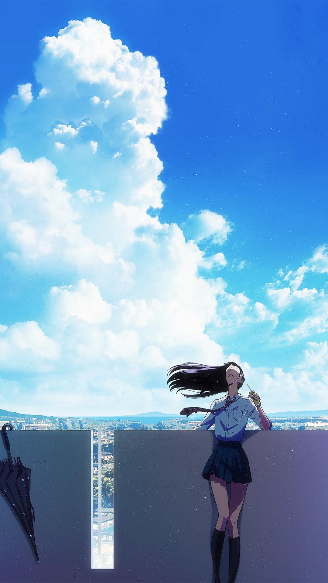 青い空と入道雲と空を見上げる橘あきらの『恋は雨上がりのように』の壁紙