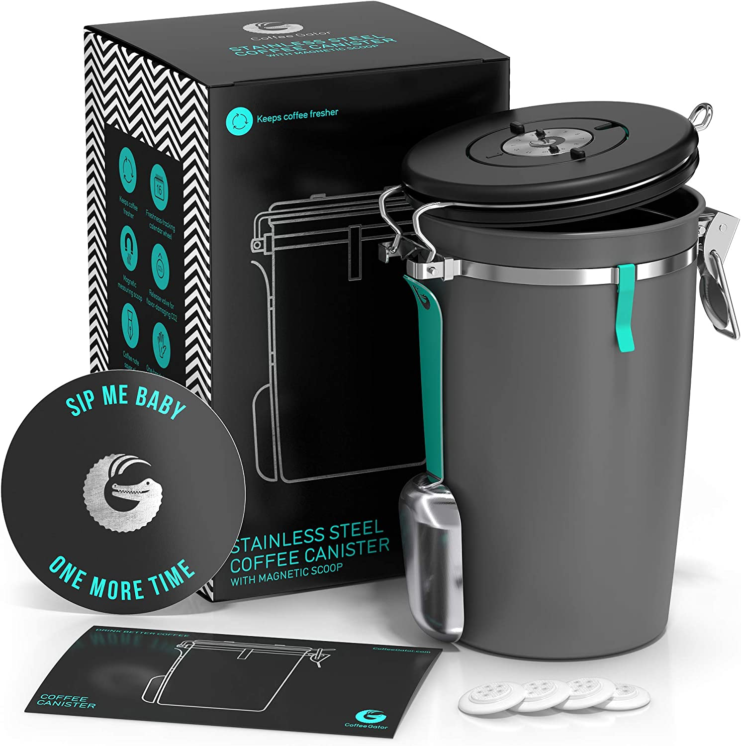 Beans and Coffee Grounds Container - New 2020 Model Coffee Gator Stainless Steel Canister - CO2 Release Valve, Magnetic Scoop Attachment and Bag-Saver Clip - Holds 22oz Beans, 64floz Capacity