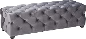 Christopher Knight Home 299848 Provence Grey Tufted New Velvet Ottoman Rectangle