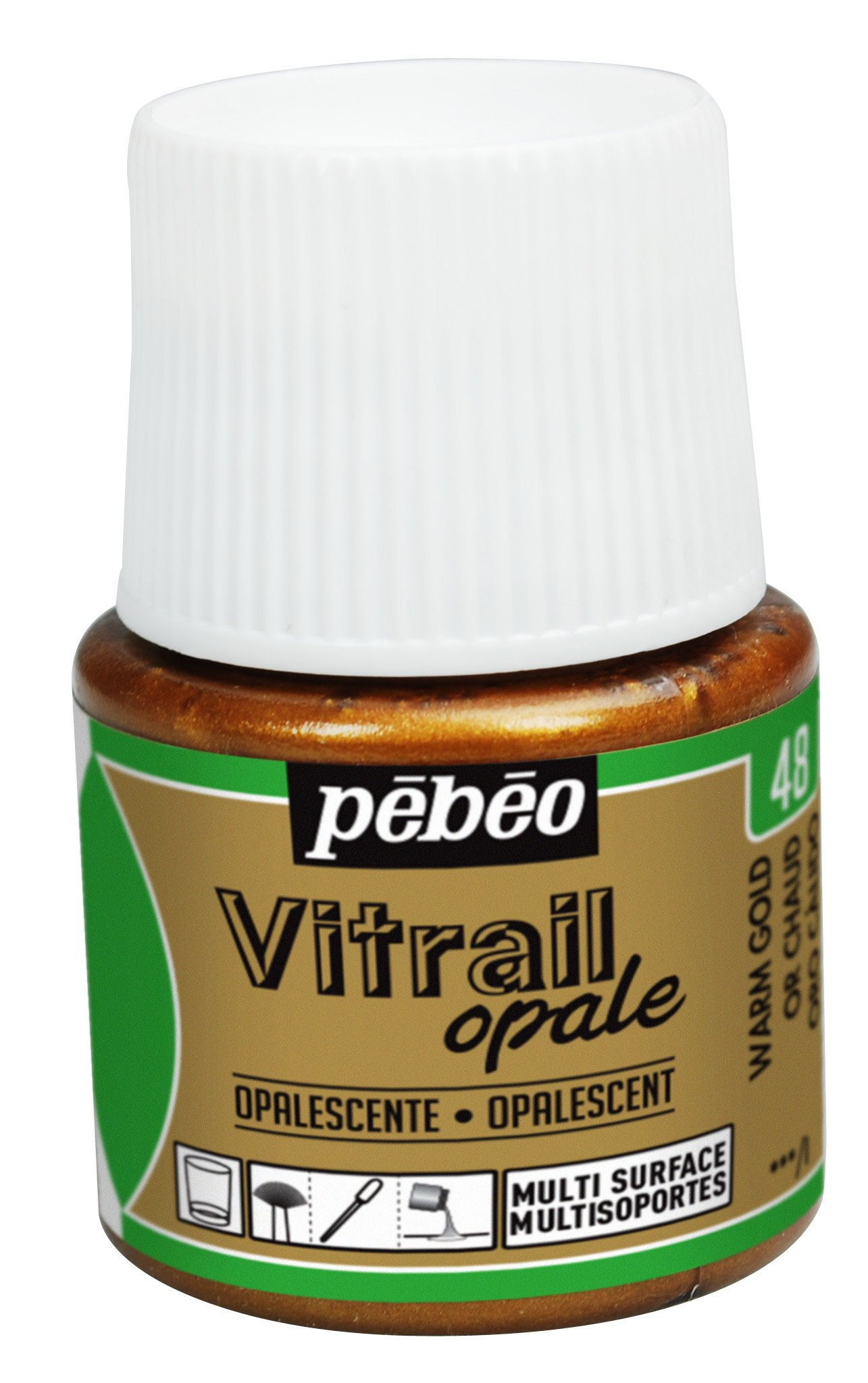 Pebeo Vitrail, Stained Glass Effect Paint, 45 ml Bottle - Warm Gold