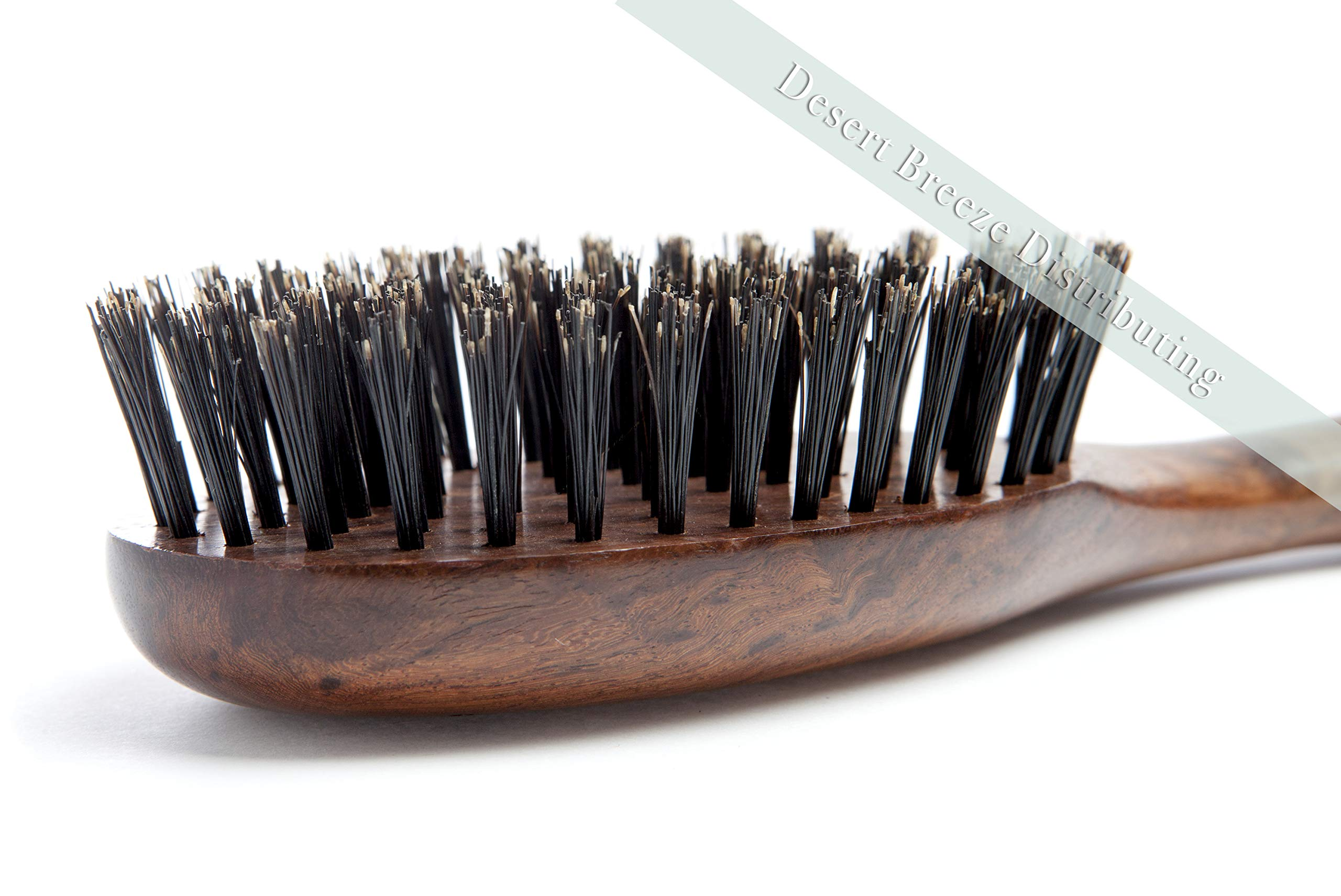 100% Pure Wild Boar Bristle Hair Brush, Calcutta Max for Thick or Long Hair, Gentle, Extra Stiff Natural Bristles, Hand Finished Indian Rosewood Handle, Tufted in USA, by Desert Breeze Distributing by Desert Breeze Distributing (Image #3)