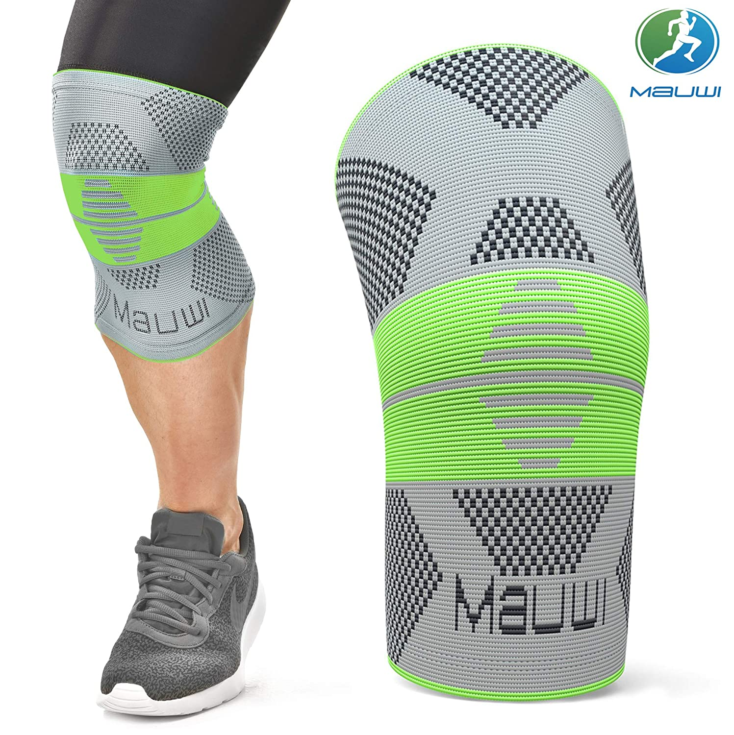 Mauwi Compression Knee Sleeve. ACL Knee Brace for Men & Women. Knee Support for Running, CrossFit, Basketball ...
