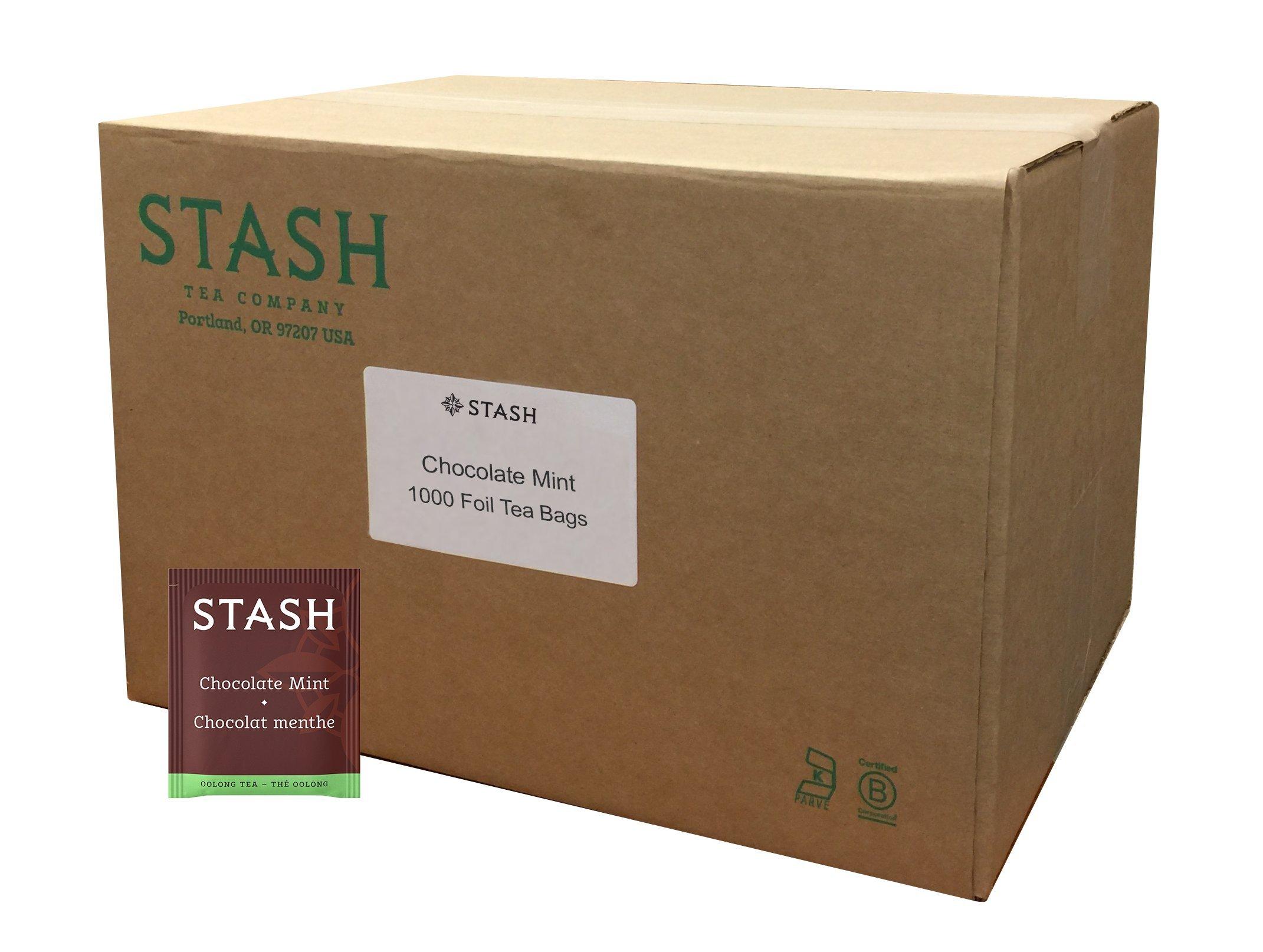 Stash Tea Chocolate Mint Wuyi Oolong Tea 1000 Count Tea Bags in Foil Individual Black Tea Bags for Use in Teapots Mugs or Cups, Brew Hot Tea or Iced Tea, Fair Trade Certified