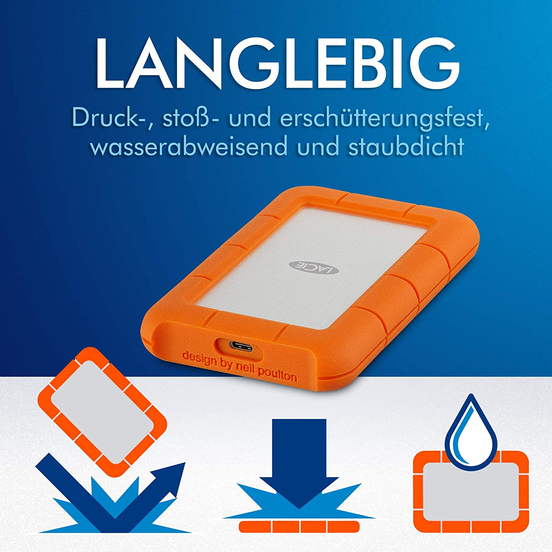 Lacie Rugged Mini 2 Tb External Portable Hard Drive Computers Accessories