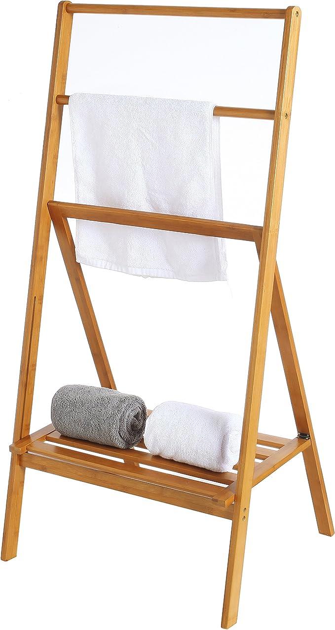 MyGift - Toallero plegable de bambú con estante de almacenamiento, 113 cm: Amazon.es: Hogar