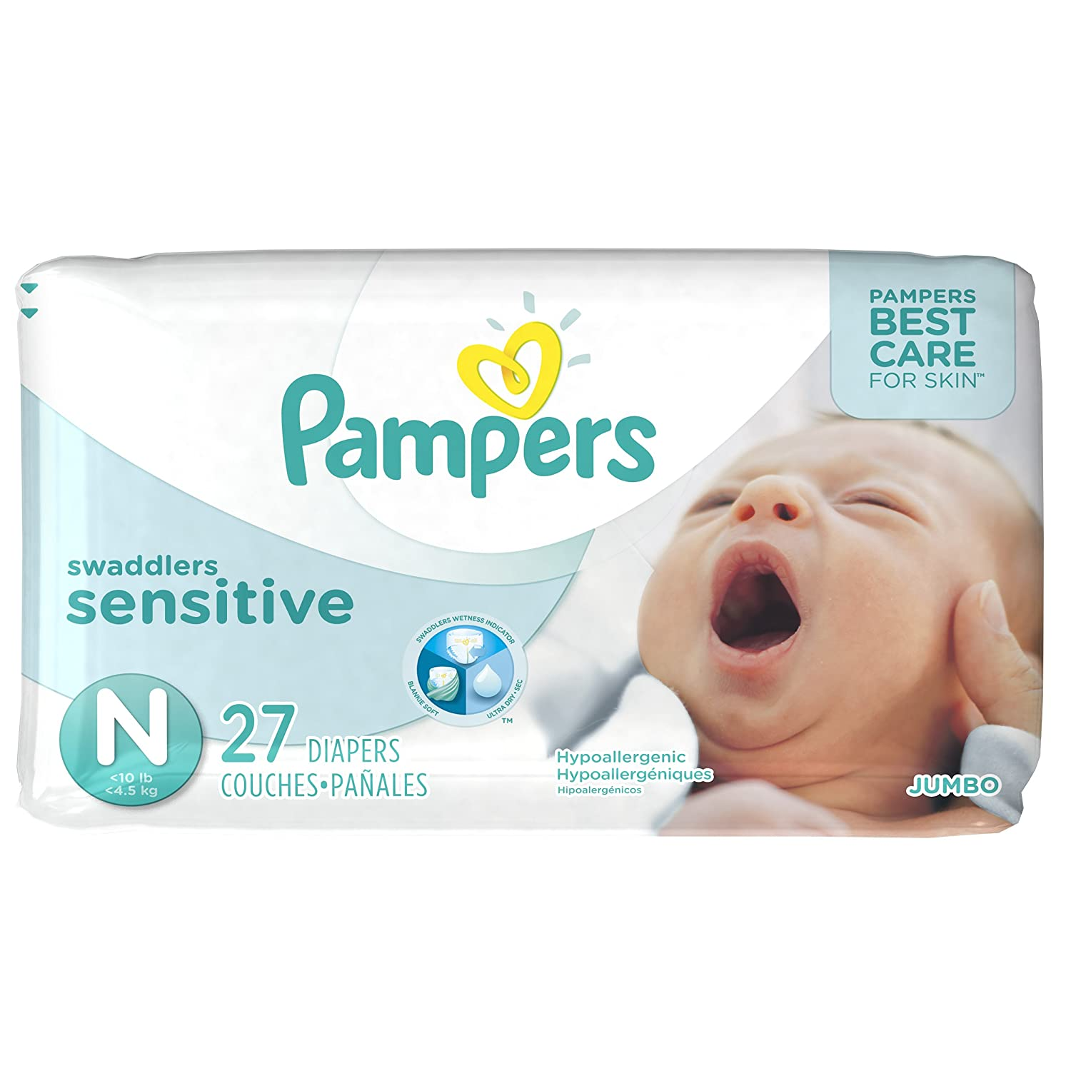 Soft and hypoallergenic, Pampers Swaddlers Sensitive diapers provide the best care for your baby's skin. Made with a quilted design for superior comfort, Sensitive diapers also have a touch of aloe in them to help keep skin healthy looking.
