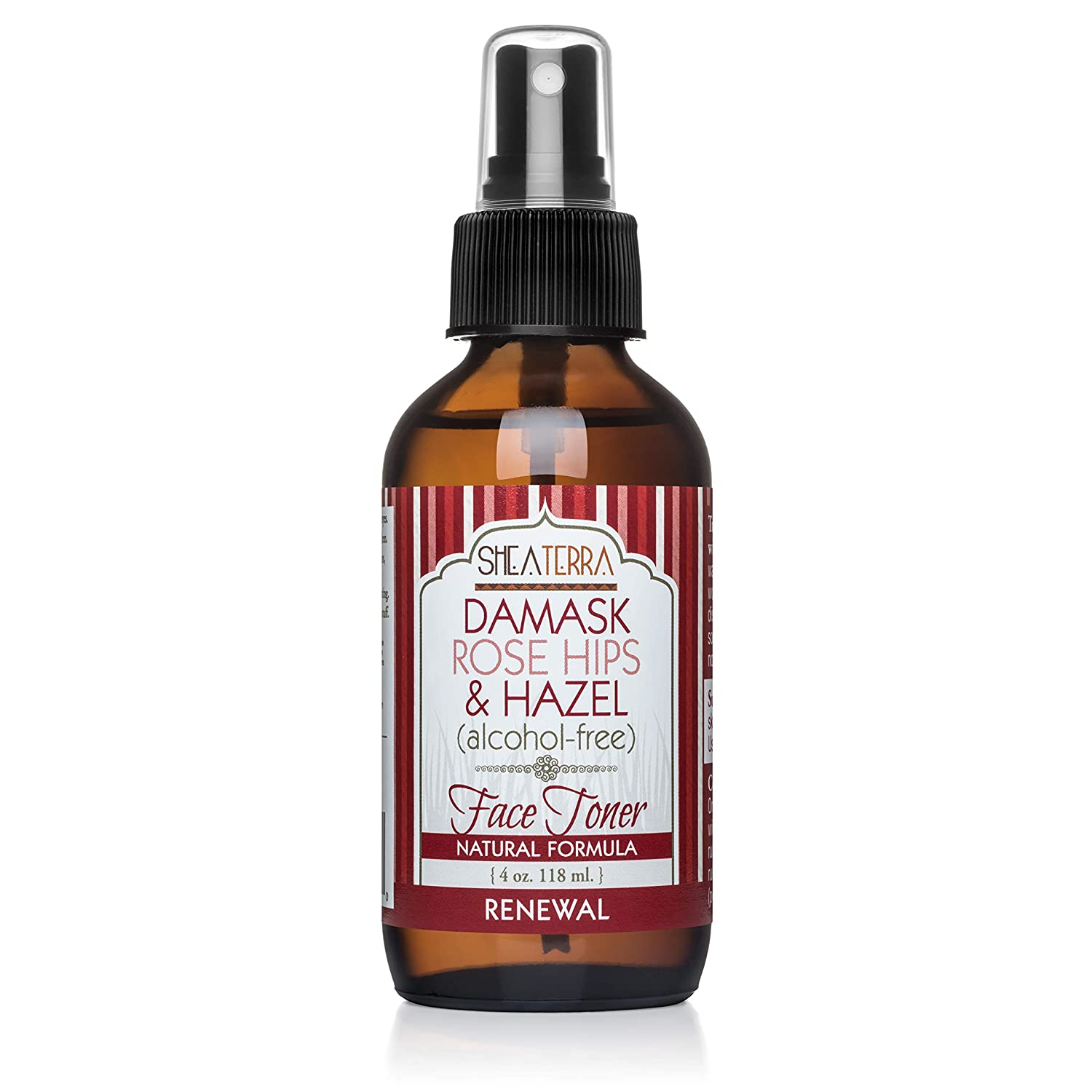 Shea Terra Organics Beauty Water, Toner & Face Mist – Damask Rose Hips & Hazel | Natural Daily Hydrating Toner with Anti-Aging Rose & Witch Hazel to Soothe & Cleanse Inflamed Skin & Fight Acne – 4 oz : Body Scrubs : Beauty