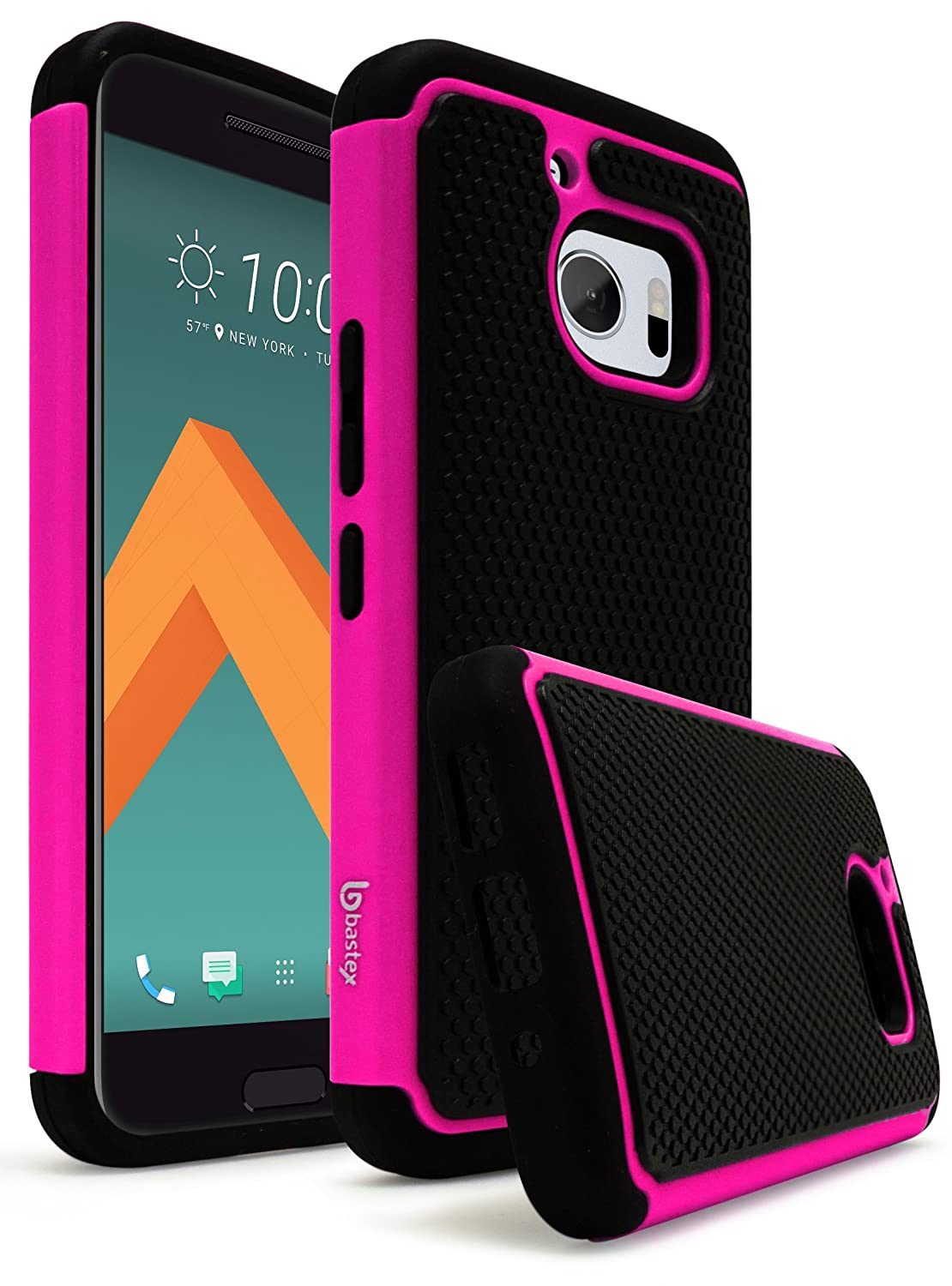 HTC 10 Case, Bastex Hybrid Slim Fit Rugged Black Rubber Silicone Cover Hard Plastic Hot Pink & Black Shock Case for HTC 10 HTC M10 HTC One M10