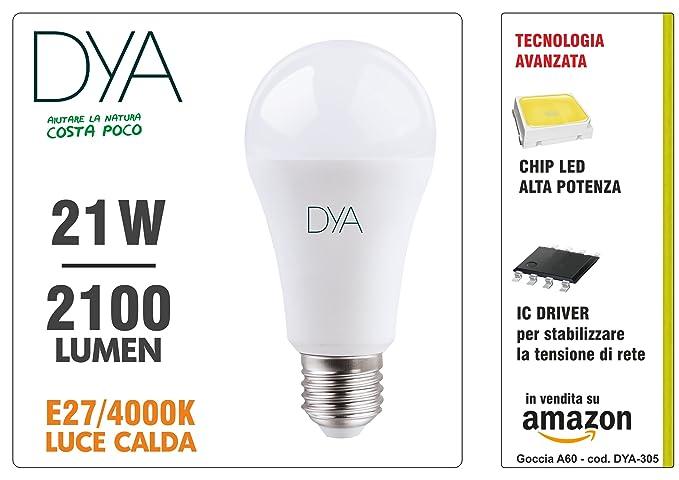 DYA - Bombilla A60 LED de 21 W con forma de gota,casquillo