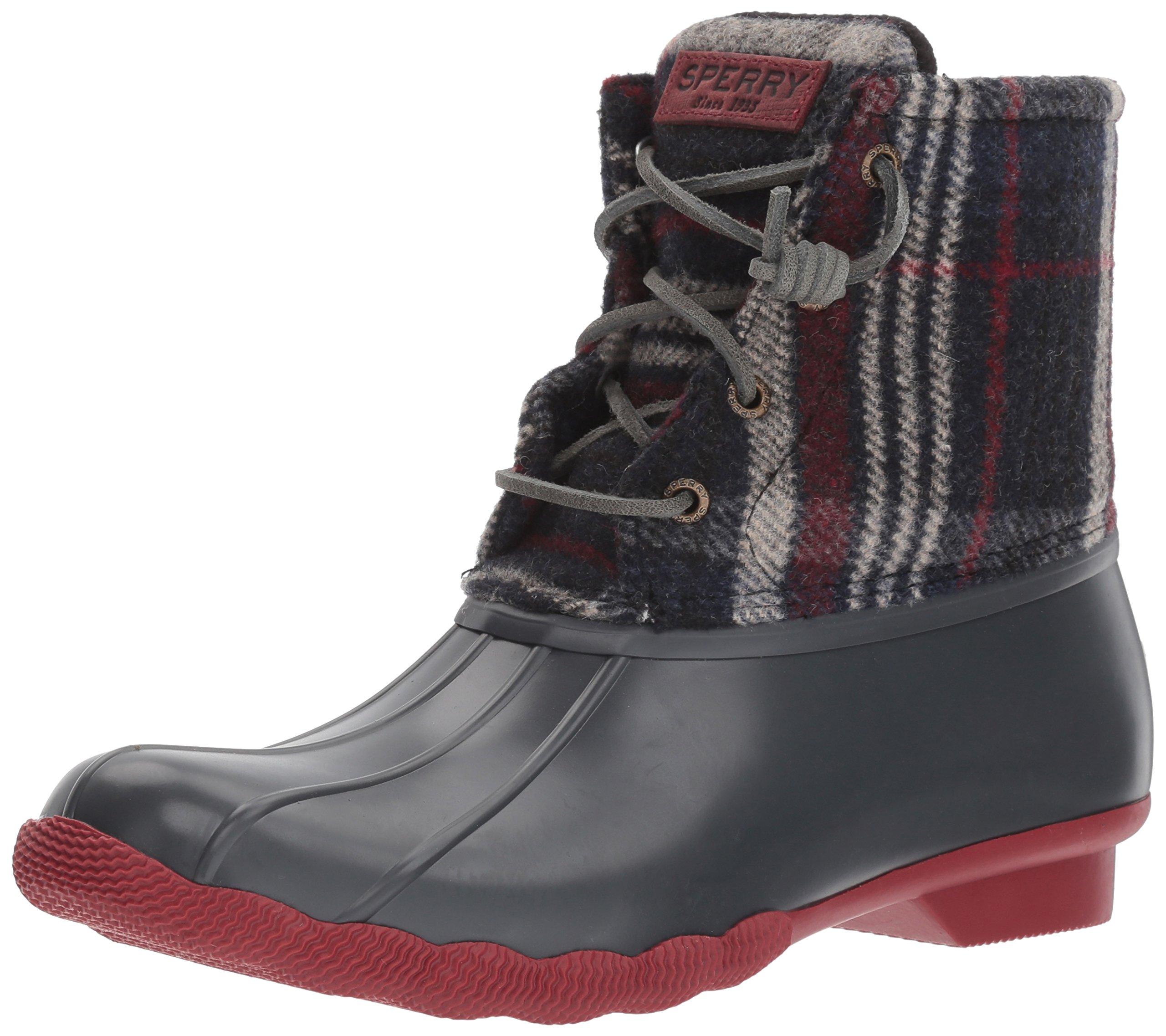 Sperry Top-Sider Women's Saltwater Wool Plaid Rain Boot, Grey, 5 Medium US