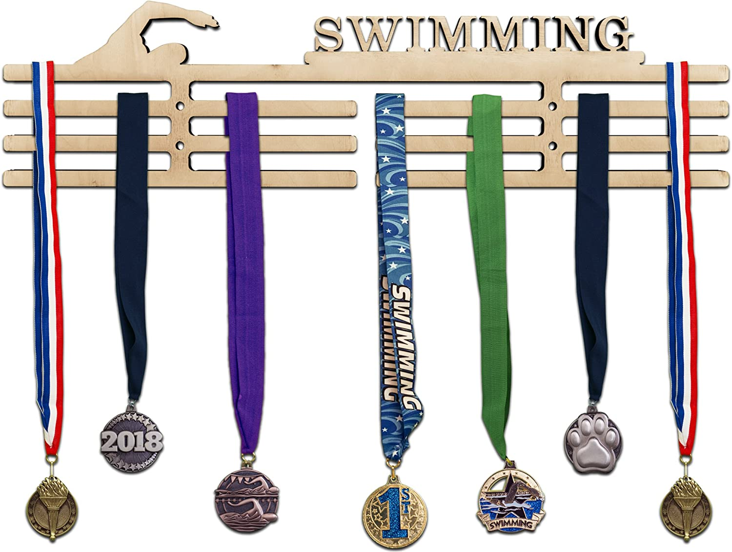 Sturdy Wall Mount Arena Gifts Soccer Medal Hanger Display Wooden Soccer Awards Holder Sports Rack Easy to Install Displays Up to 24 Hanging Medals or Ribbons