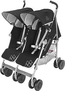 Maclaren Silla de paseo Techno XT gemelar de color negro/gris, para recién nacidos