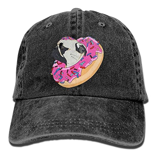 Retro Pug Dog Donut Denim Womens Tactical Baseball Cap Sport Vintage ... 62017a9e619