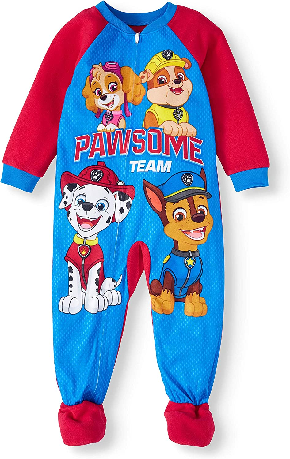Boys 4T Puppy Dog Paw Prints Footed Blanket Pajama Sleeper