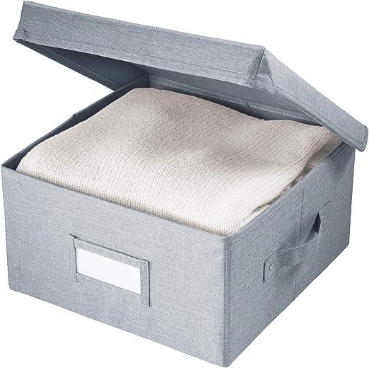 iDesign Codi Cesta de Tela con Tapa, Caja Organizadora de Poliéster Pequeña, Gris, 28,6 cm x 29,2 cm x 15,9 cm: Amazon.es: Hogar