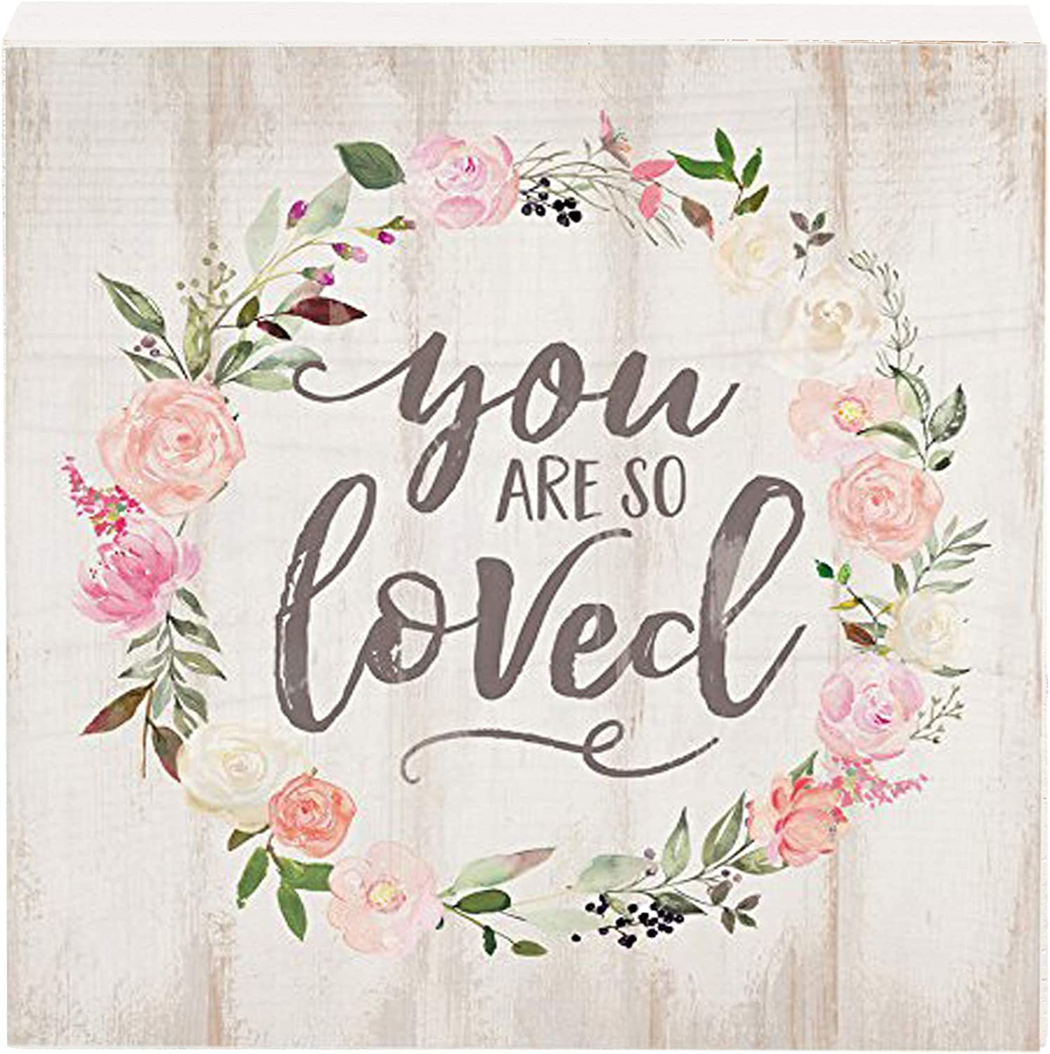 P. Graham Dunn You are So Loved Floral Wreath Whitewash 5.5 x 5.5 Solid Wood Barnhouse Block Sign